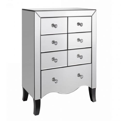 Axe 192 (Clear Glass Mirrored 6+1 Drawer Chest )